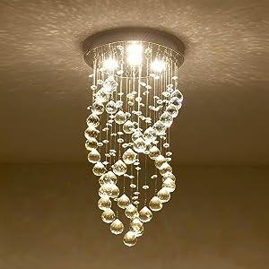 Modern K9 Crystal Raindrop Chandelier, Spiral Mini Chandelier 4 LED Ceiling Lighting Fixtures for Bedroom, Living Room, Bathroom, Hallway