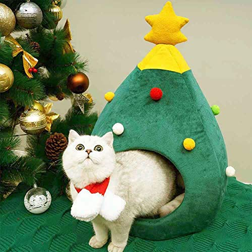 Ushang Pet Indoor Doggy House Christmas Decor Cat House Portable Pet House Dog Bed Cat Cave Tent 15 x 15 x 23.6 Inch