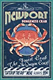 Newport, Oregon - Dungeness Crab Vintage Sign (12x18 Art Print, Wall Decor Travel Poster)