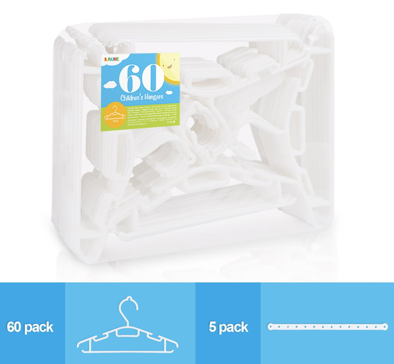 60 Pack Non-slip White Tubular Childrens Hangers 12 Inch for Kids Baby Infant Toddler with Plastic Hanger Straps by ilauke