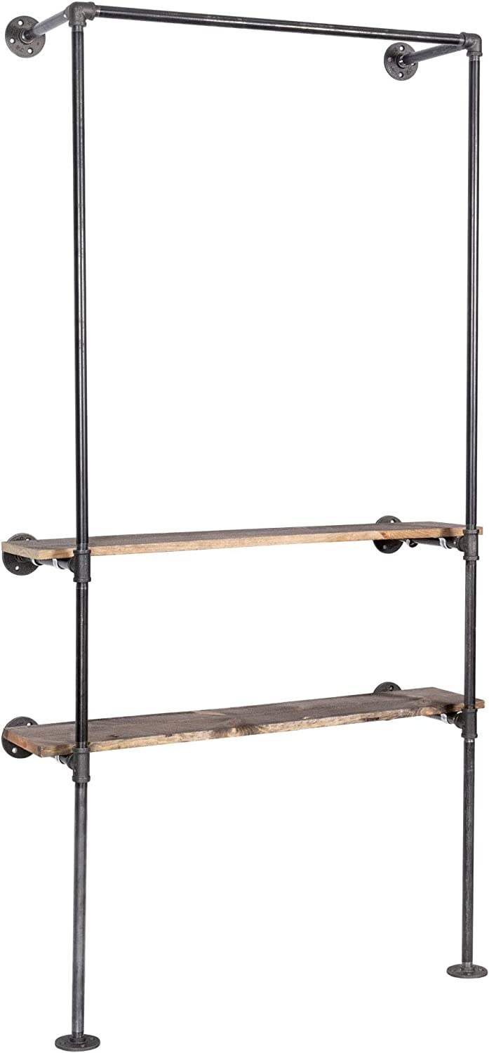 PIPE DÉCOR Wall Mounted Industrial Pipe Clothing Rack, Commercial or Residential Wardrobe Clothes Display, Heavy Duty Rustic Vintage Steel Grey Black Metal Garment Frame, Wardrobe with Vintage Shelves