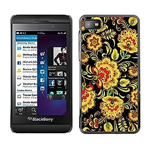 QCASE / Blackberry Z10 / flores florales de arte patrón de papel tapiz de color amarillo / Delgado Negro Plástico caso cubierta Shell Armor Funda Case Cover