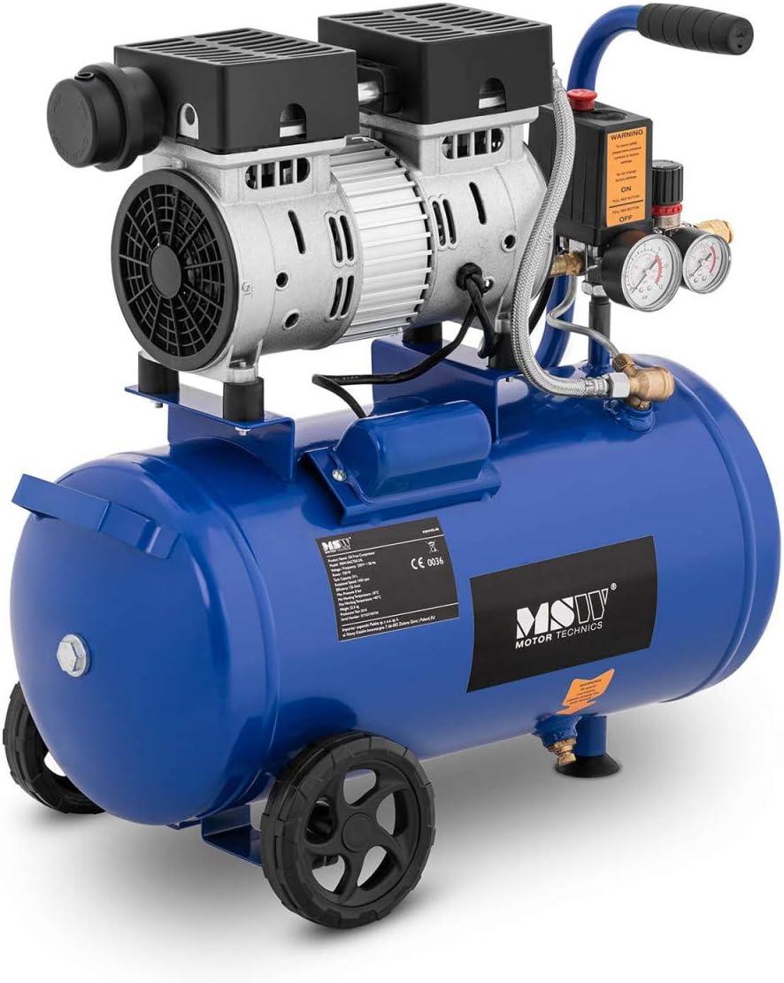 MSW Compresor Sin Aceite Generador De Aire Comprimido MSW-0AC550-24L (Con ruedas, 6-8 bar, 24 litros, 1.400 rpm, 550 W)