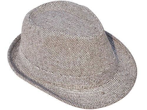 Simplicity Mens Vintage Sixties Style Wool Fedora Hat, Brown/white