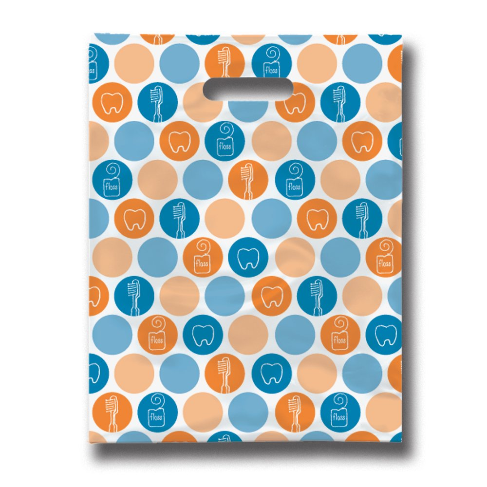 Practicon 11096116 Dental Dots Scatter Print Patient Bags, 8'' x 10'' (Pack of 100)