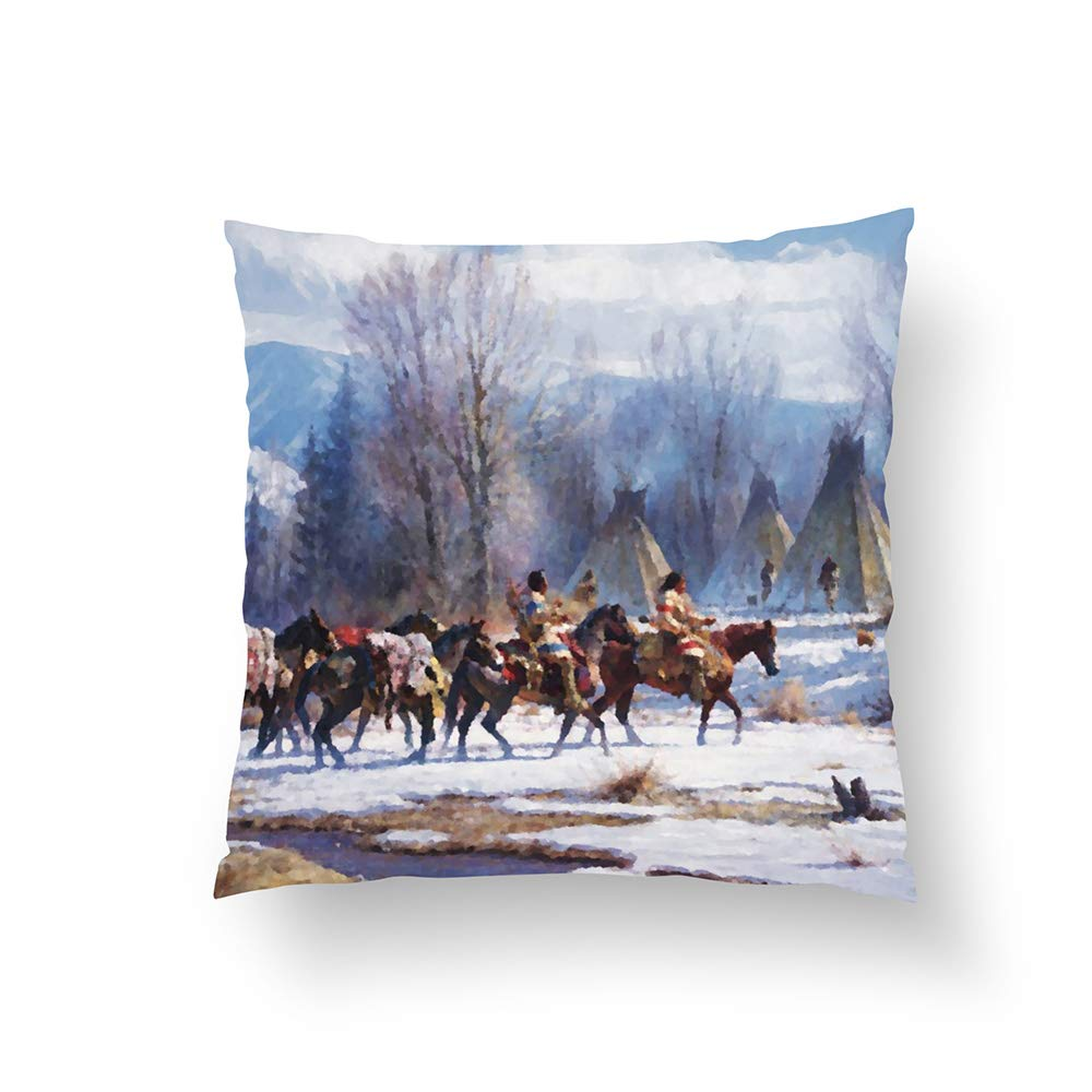 Zippered Pillow Covers Pillowcases One Side 16x16 Inch Native American Indians Mountains Winter Season Pillow Pillow Cases Cushion Cover for Home Sofa Bedding