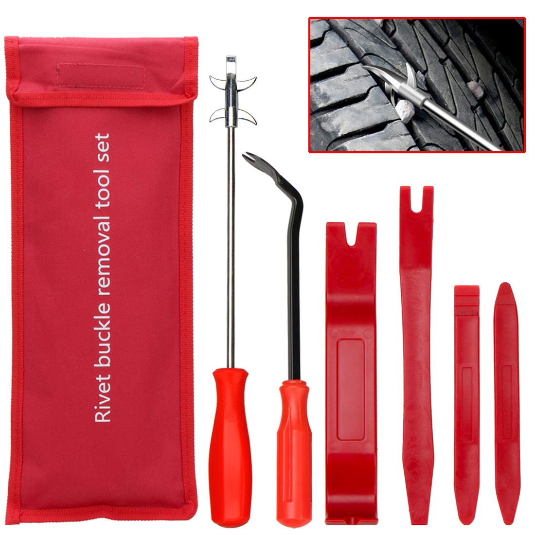 Trim Removal Tool and Tire Cleaning Hook,Car Panel Door Audio Trim Pry Tool Kit, Auto Fastener Remover Tire Stones Removing Tool