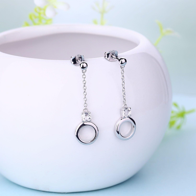 Starchenie Long Circle Earrings Small Hoop Earrings Charm Gift Zirconia Drop Earrings for Women Girls