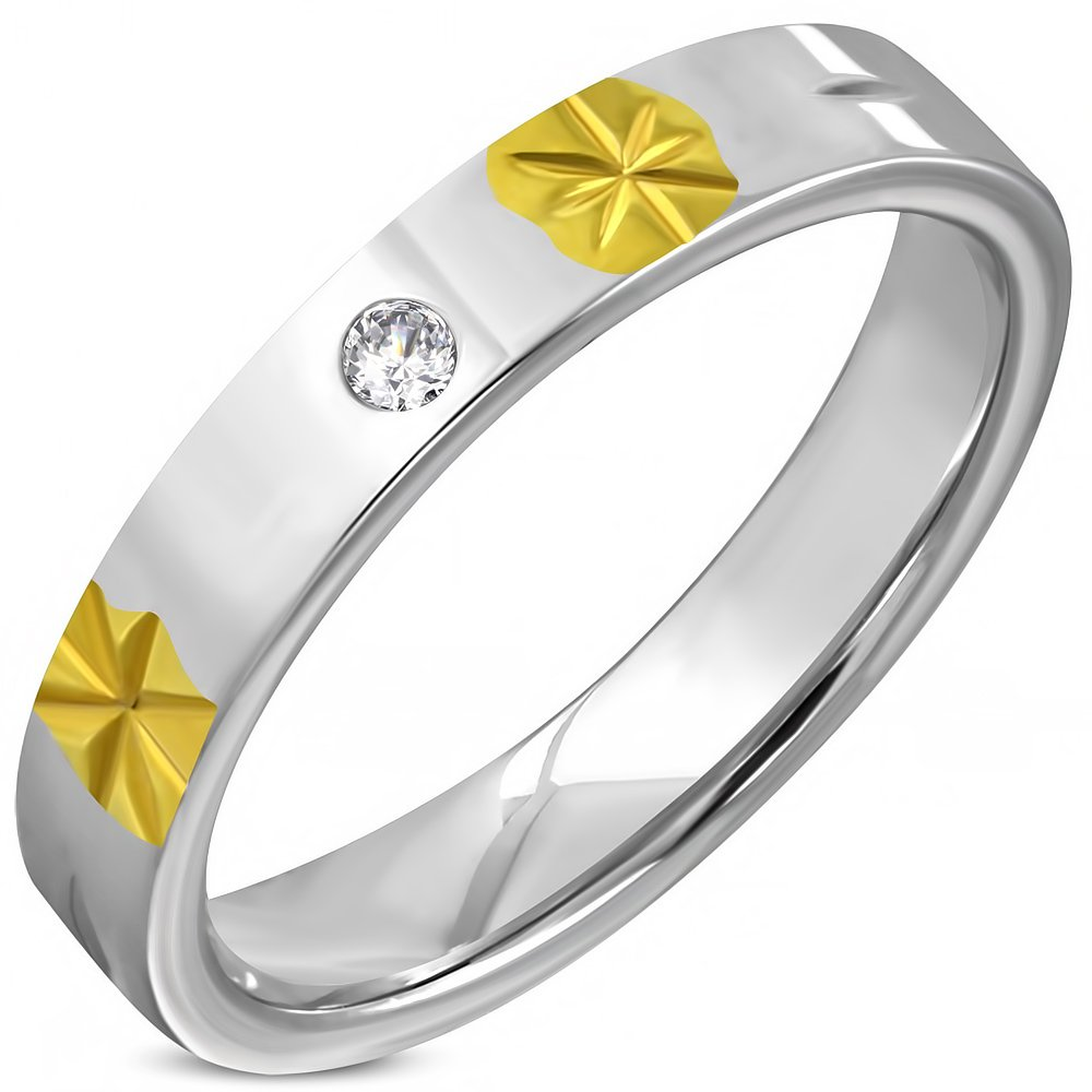 Stainless Steel 2-Tone Engraved Star Flower Comfort Fit Wedding Flat Band Ring W// Clear CZ 5mm RCT535