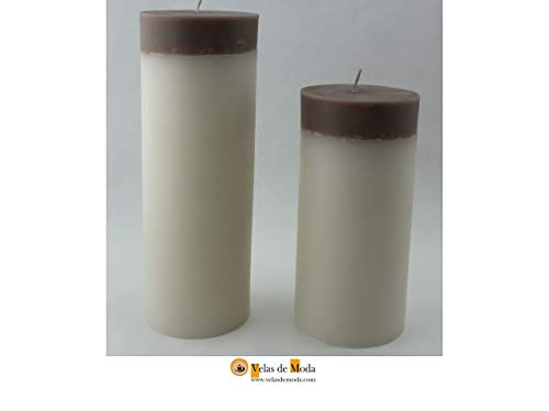 VELAS VELONES BICOLOR SUPERIOR. Pack de dos velas de color blanco ...