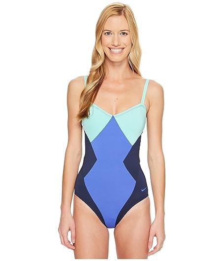 0cd47ef138e Image Unavailable. Image not available for. Color: Nike Women's Color Surge  Bandeau Tank Swimsuit S Medium Blue