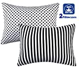 100% Organic Cotton Toddler Pillowcases Set of 2, Soft and Breathable, 13''x 18'', Black