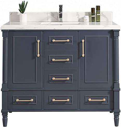 Amazon Com 48 X 22 Willow Collections Aberdeen Bathroom Vanity In Hale Navy Blue With 4cm Beveled Edge Calacatta Quartz Kitchen Dining