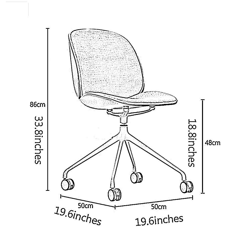 GYH svängbar stol kontorsstol, halvförpackad bomull och linne ryggstöd svängbar stol för kontor hem dator arbetsrum kontorsstol (färg: Rosa) Grått