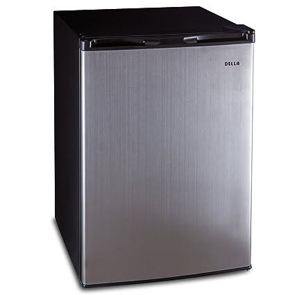 Della Upright Mini Refrigerator Freezer 4.5 Cubic Feet Portable Mini Fridge  Single Reversible Door Small Compact