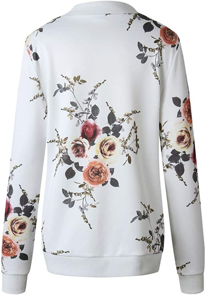Balakie Womens Ladies Retro Floral Zipper Up Bomber Jacket Casual Coat Outwear