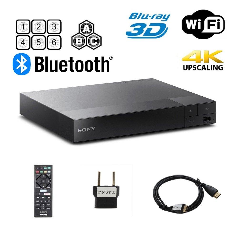 Sony BDP-S6700 Multi Region Blu-ray DVD Region Free Player 110-240 volts; Dynastar HDMI Cable & Dynastar Plug Adapter Package 4K / Wifi / 3D/ Smart Region Free