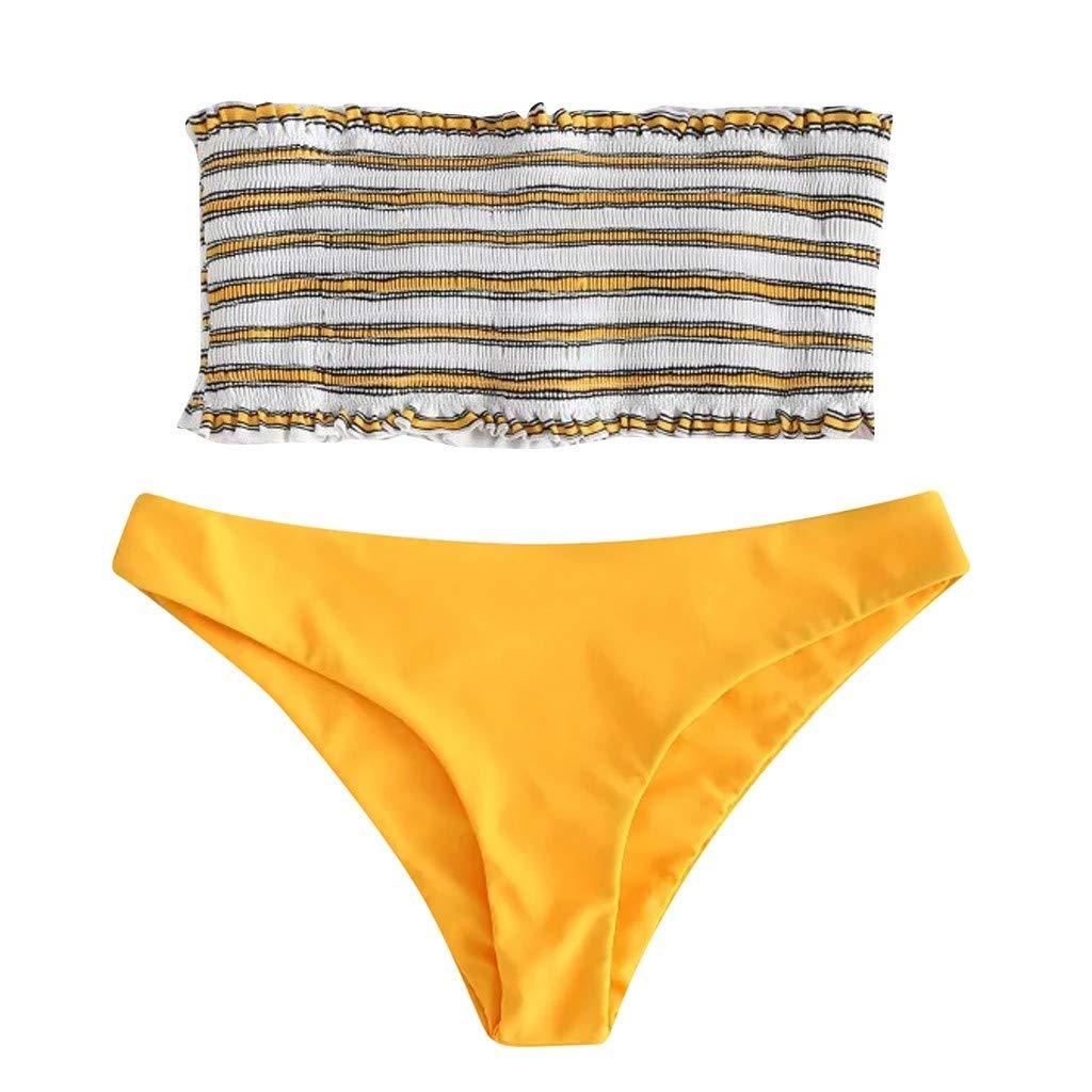 Allywit Women's Strapless Smocked Ruffles Bandeau Top Two Piece Bikini Set Yellow