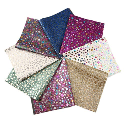 20 cm x 34 cm Plain Color David Angie Bright Color Superfine Glitter Faux Leather Sheet 10 PCS 8 x 13 Canvas Back Fabric for Earrings Hair Bows Making