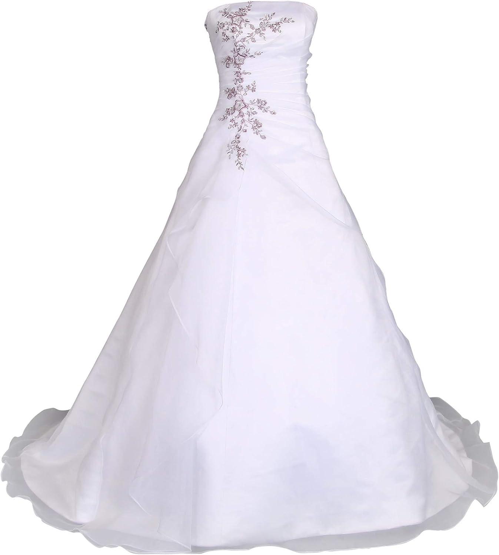 Romantic-Fashion Brautkleid Hochzeitskleid Weiß/Lila Modell W19 A-Linie  Satin Stickerei Zweifarbig DE