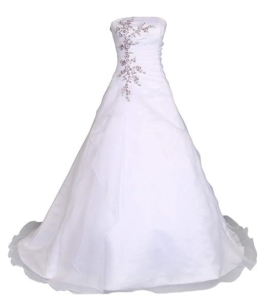 günstig Kaufen weich und leicht Romantic-Fashion Brautkleid Hochzeitskleid Weiß/Lila Modell W030 A-Linie  Satin Stickerei Zweifarbig DE