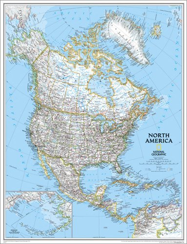 North America Classic Wall Map Map Type: Enlarged Size (46