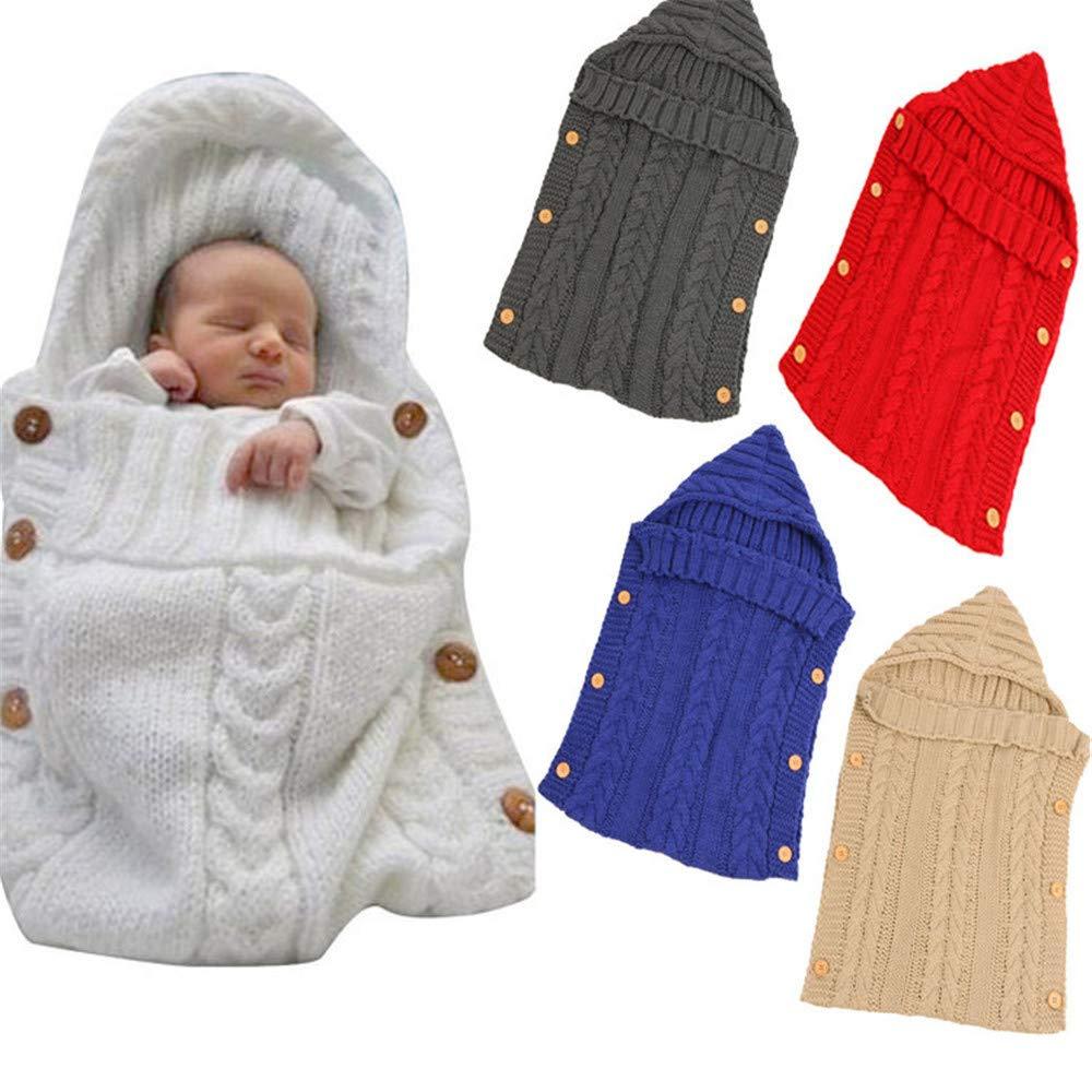 YGMDSL Autumn and Winter Infant Knitting Wool Button Holding Blanket Cart Multifunction Sleeping Bag,Black