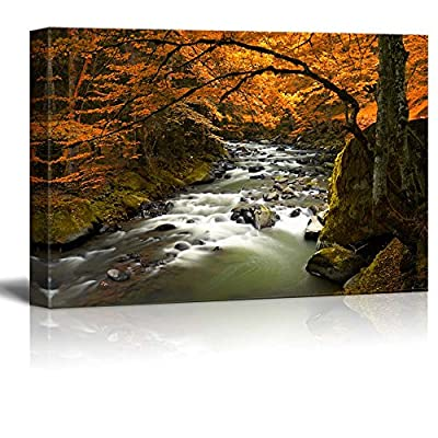 Canvas Prints Wall Art - Autumn Scenery/Landscape with Yellow Trees and River | Modern Wall Decor/Home Art Stretched Gallery Canvas Wraps Giclee Print & Ready to Hang - 32