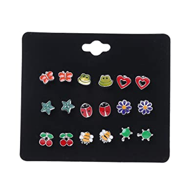 7325cb58d Misright 9 Pairs Cute Small Animal Fruit Fox Butterfly Stud Earrings Set  for Kids Girls (