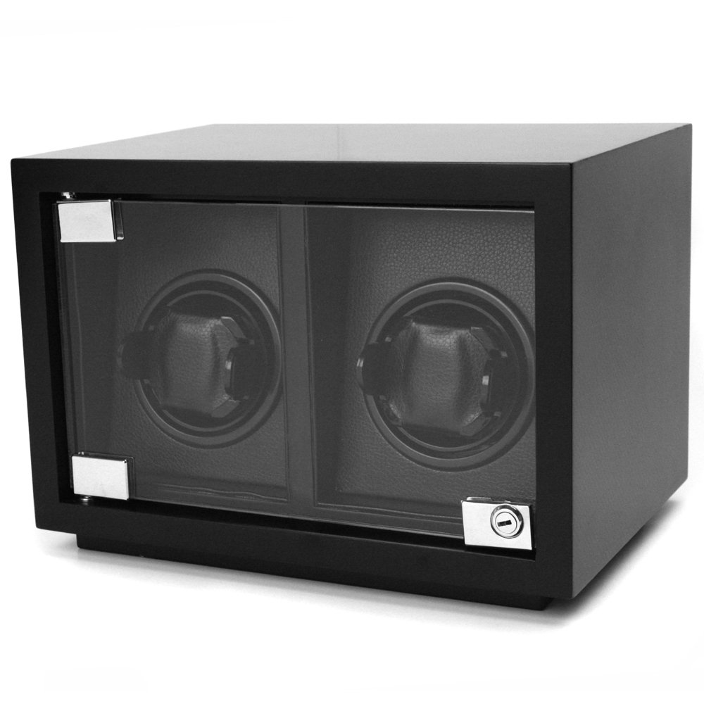 Tech Swiss Watch Winder Double Wood Black Carbon Fiber Design for Large Watches by Tech Swiss
