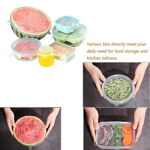 6 Pack de silicona estiramiento tapas cubre a los alimentos ...
