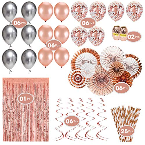 Rose Gold Party Decorations Set: 60Piece Party Supplies | 18 inch Rose Gold Balloons & Confetti Balloons | 6pcs 12 inch Metallic Silver Latex Balloons | 25 Rose Gold Paper Straws | 8 Rose Gold Hanging Paper Fans | 6 Swirls Ceiling Garland I 1 Foil Fringe Door Curtains | 60ft Ribbon for Wedding, Bridal, and Baby Shower