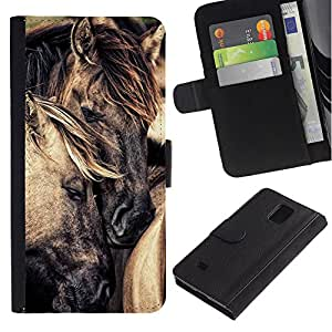 KingStore / Leather Etui en cuir / Samsung Galaxy Note 4 IV / Amour Cheval Étalon Mustang