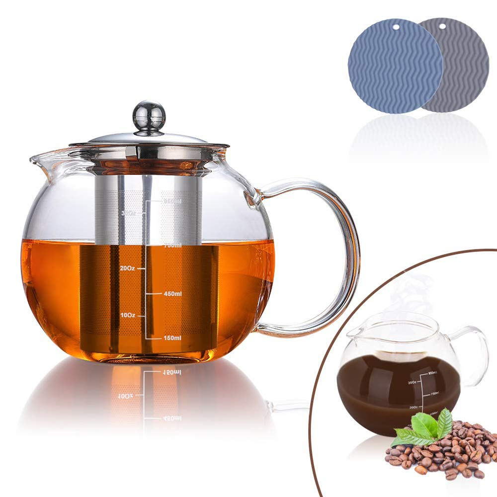 AUBBC Glass Teapot Has Scale Line with Stainless Steel Infuser (32 oz), Stovetop Safe Glass Tea Kettle with 2 Silicone Mats for Blooming and Loose Leaf Tea - Durable Borosilicate Glass - BPA Free