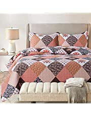 HoneiLife Embroidered and Floral Microfiber Quilt Set