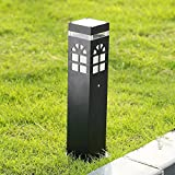 Modeen Continental Outdoor Glass Table Lamp Floor Lamp Simple Modern Grass Lawn Lamp LED Waterproof Garden Lights Villa Street Post Lights E27 Decoration Illumination (Color : Black, Size : 40cm)