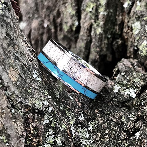 3 pc Natural Deer Antler Ring with Turquoise Inlay Engagement ring Mens Womens Wedding Ring Set Stainless Steel Sterling Silver Band by KingswayJewelry (Image #6)