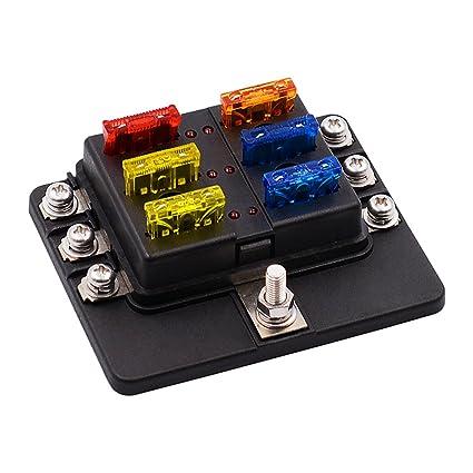 amazon com fuse block 32v dc 1 6 way blade fuse box holder with led rh amazon com car fuse box cigarette lighter car lighter fuse box