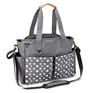 Homlynn Diaper Tote Bag, Baby Changing Satchel Bag Messenger Weekender with 12 Pockets and Stroller Straps for All Baby Accessories (Classic Grey)