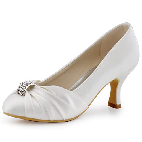 Edwardian Shoes & Boots | Titanic Shoes ElegantPark Women Pumps Mid Heel Closed Toe Brooch Ruched Satin Evening Prom Wedding Shoes $52.99 AT vintagedancer.com