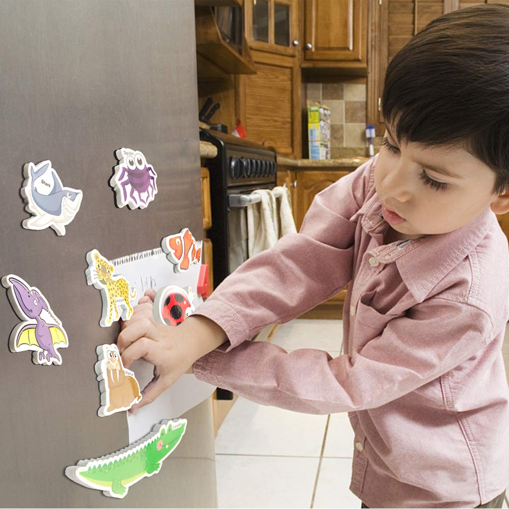Fridge Magnets for Toddlers Educational Toy for Preschool Learning HLXY Refrigerator Magnets for Kids 64 PCS Animals Magnets Toys Dinosaurs Insect Ocean Sea Animal Magnets Foam Animal