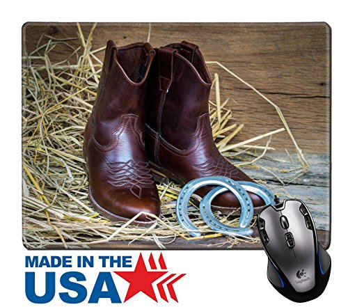 "MSD Natural Rubber Mouse Pad/Mat with Stitched Edges 9.8"" x 7.9"" Western cowboy boots and horseshoes Still life vintage style IMAGE 26920685 (Old Macs Horse Boot)"