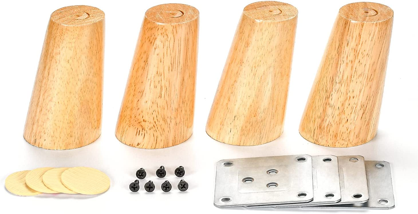 4 Pack Oblique Tapered Furniture Legs 4 Inch High (10cm) Cabinet Legs Solid Wood Sofa Legs Couch Legs Hardware Furniture Wood Legs for Bed Desk Table with Stainless Plates