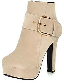 Davikey Women's Dressy Faux Suede Buckle Belt Round Toe Side Zipper Chunky High Heel Platform Ankle Boots