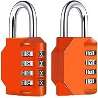 Diyife 2 Pack 4-Stelliges Zahlenschloss, Kombinationsschloss, Vorhängeschloss, Wetterfestes Metall & Plated Steel Combination Lock für Schule, Gym & Sports, Hasp Cabinet & Storage - Orange