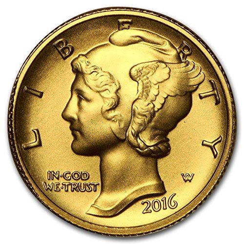- 2016 W 1/10 oz Gold Mercury Dime Centennial (w/OGP) Dime Brilliant Uncirculated US Mint