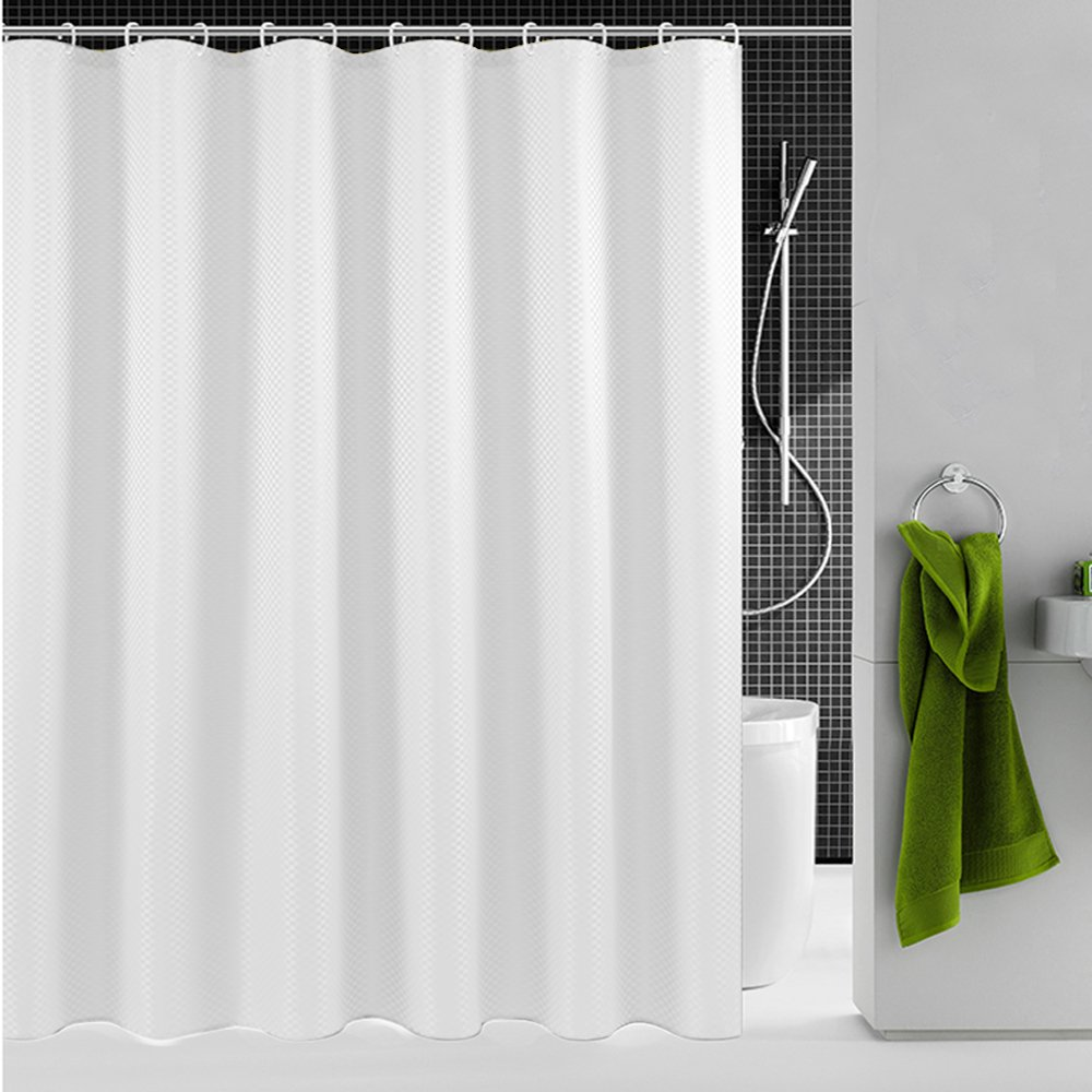 Uphome Bathroom Shower Curtain, Plain White Heavy Duty Waffle Weave Fabric Bath Stall Curtain Set, Hotel Quality Waterproof and Mildew Resistant, 72''W x 72''L by Uphome (Image #8)