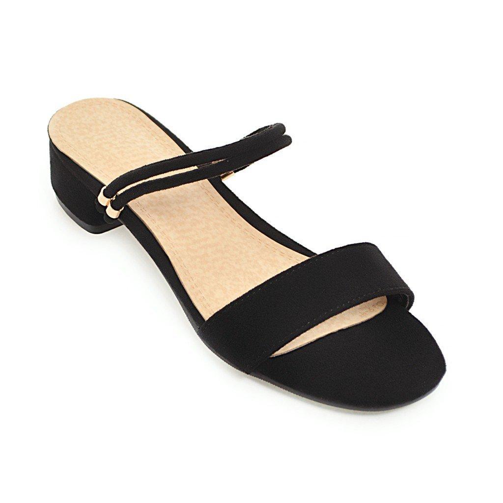 Sandalen Woherren Open Toe Hälfte Slipper Mode Flachbild Wilden äußeren Verschleiß schwarz 43