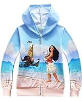 KIDHF Girls Thin Zip Hoodie Moana Sweatshirt children Coat Cartoon Jacket Outwear