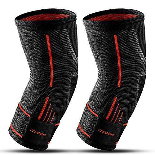 Elbow Support Compression Sleeves Pads For Basketball -2PCS Reversible Stabilizer Arm Pad Adjustable Brace Protection - Men Guard Shooting Volleyball Baseball Football Sleeve Bursitis Padded Protector